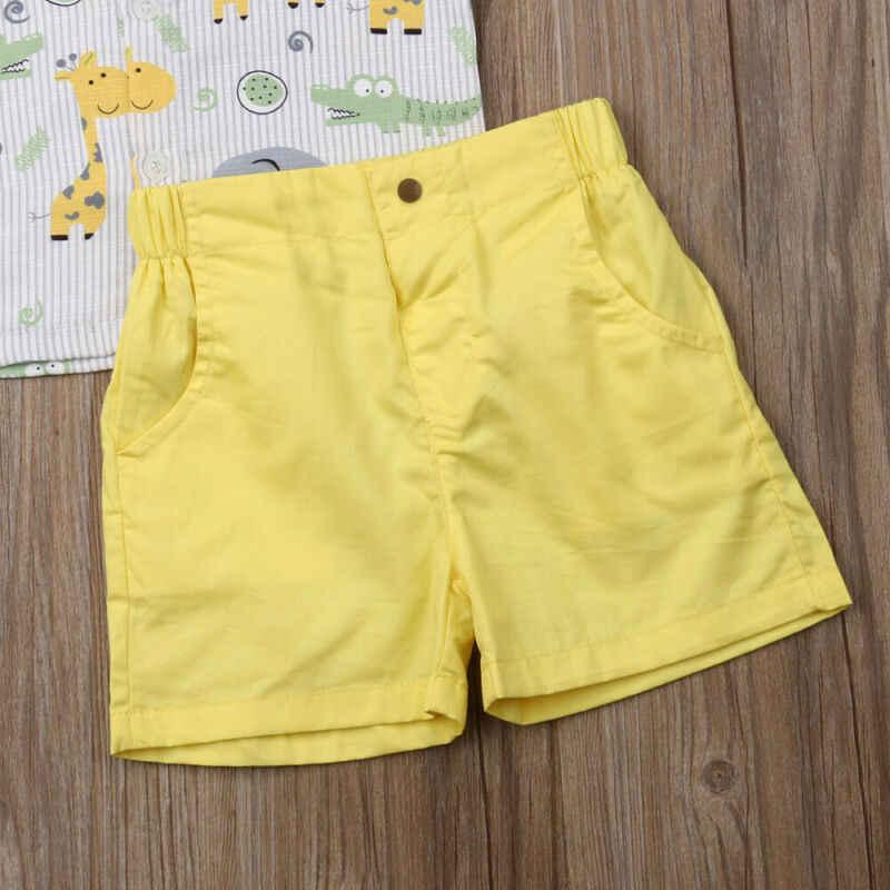2019 Anak Musim Panas Pakaian Anak-anak Balita Bayi Anak Pria Pakaian Hewan Cetak Atasan Kemeja Celana Pendek Bawahan Formal 2Pcs Pakaian