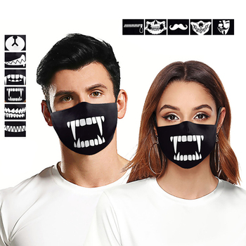 14 types New Washable Cute Teeth Cartoon Pattern Face Mouth Mask Cotton Adult Kids Dustproof Respirator Windproof Mascarillas