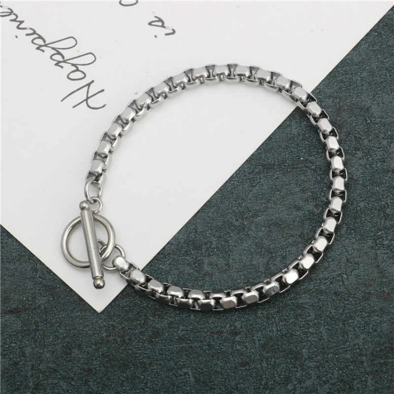 Stainless Steel Bracelet 4mm Chain Men And Women Couple Bracelet OTBuckle Style Ladies Bracelet Men's Bracelet Jewelry Gift 2019