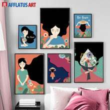 Abstract Girl Flower Plant Figure Wall Art Canvas Painting Nordic Posters And Prints Vintage Wall Pictures For Living Room Decor(China)