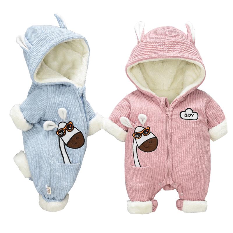Dollplus New Born Baby Romper Long Sleeve Newborn Jumpsuit Winter Baby Boy Girls Clothes Children's Hoodies Warm Clothing