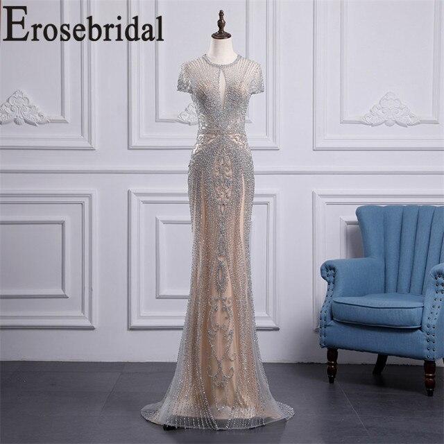 Erosebridal luksusowa suknia wieczorowa długa 2020 zroszony syrenka formalna sukienka dla kobiet Sexy Illusion ciało suknia wieczorowa Zipper powrót