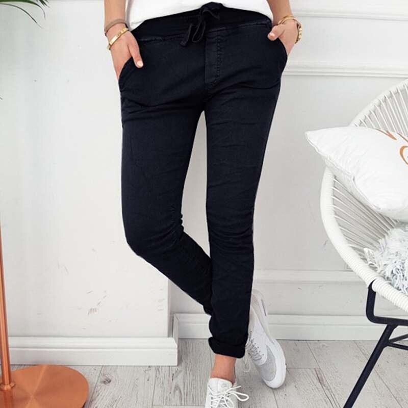 Fashion Women Casual Pencil Pants Spring Autumn Pocket Elastic Waist Drawstring Trousers Female Solid Slim Ankle Length Pants