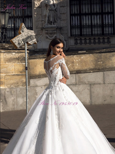 Image 3 - Julia Kui Gorgeous Tulle A line Wedding Dress With Full Sleeve Wedding Gown Royal Train