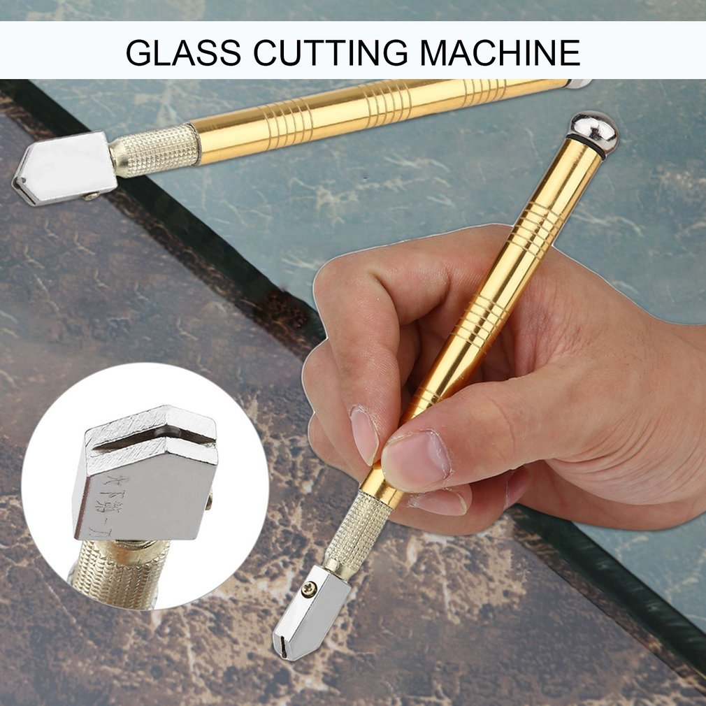 New Upgrade Diamond Glass Cutter Metal Handle Steel Glass Rhinestone Self-lubricating Oil Feed Tipped Cutting Craft Glazing Tool