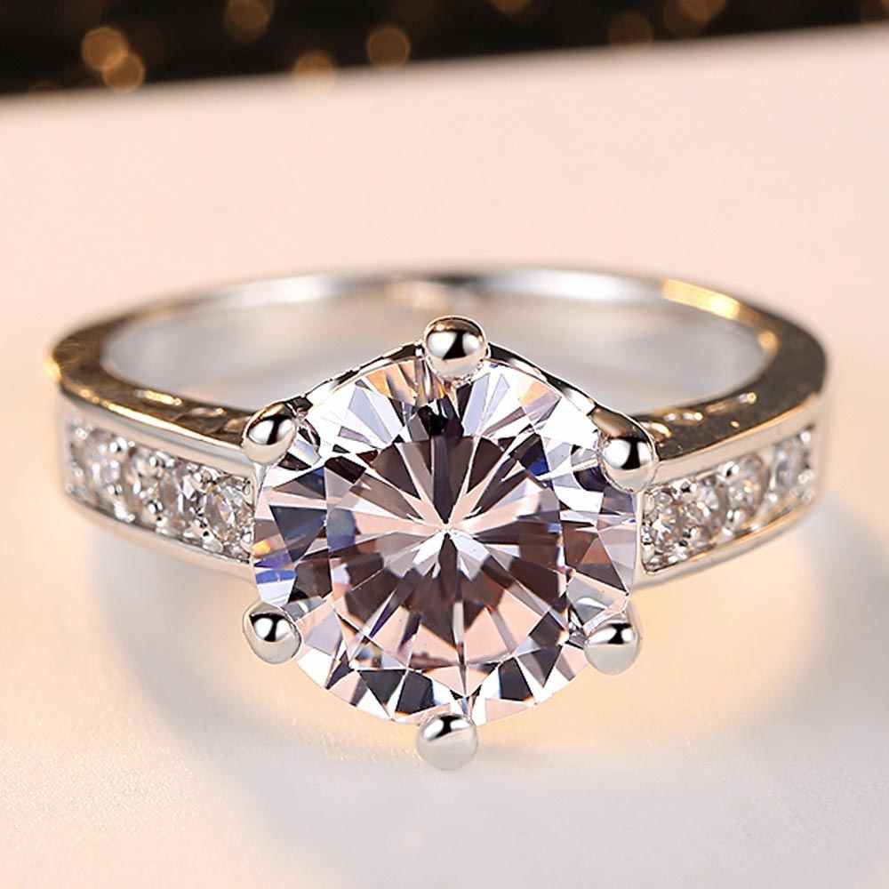 Fashion Show Elegant Temperament Charming Jewelry Ring Inlay Clear CZ Real Rhodium Plated Wedding Ring