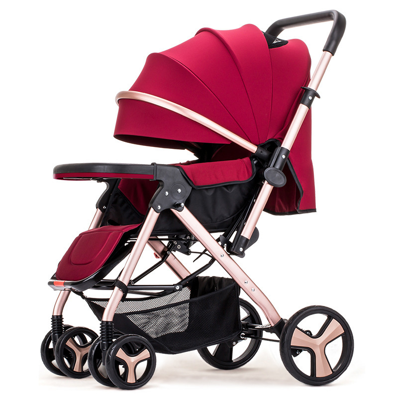 High Landscape Convertible Handle Baby Trolley Flat Lying Folding Baby Stroller 3 In 1 Baby Carriage Car Seat Cradle Pushchair