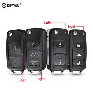 KEYYOU 20 шт. 3 кнопки складной Автомобильный ключ Switchblade ключ флип ключ оболочка для VW polo passat b5 Tiguan Golf VOLKSWAGEN Seat Skoda
