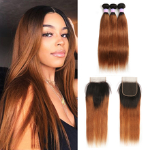 Brazilian Straight Human Hair Bundles With Closure Two Tone Ombre Brown Hair Weave Bundles