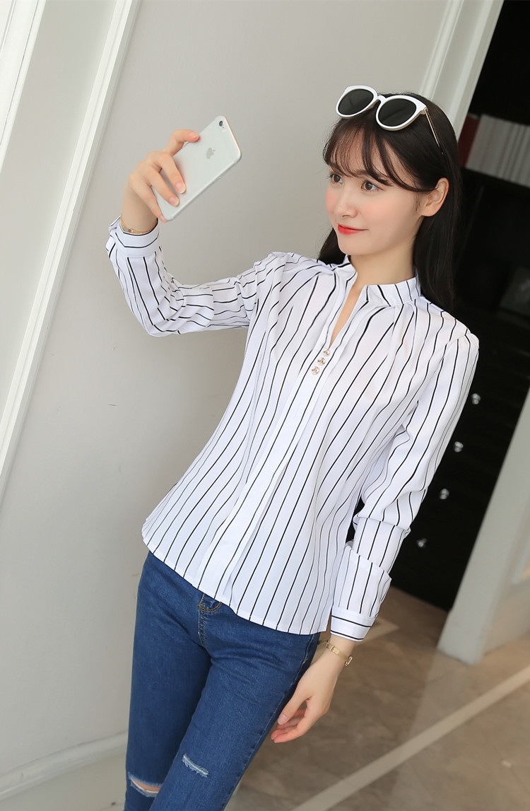 Hb240d93b0fca4c598602b9b5926a1da3T - Women Fashion White Tops and Blouses Stripe Print Design Casual Long Sleeve Office Lady Work Formal Shirts Female Plus Size