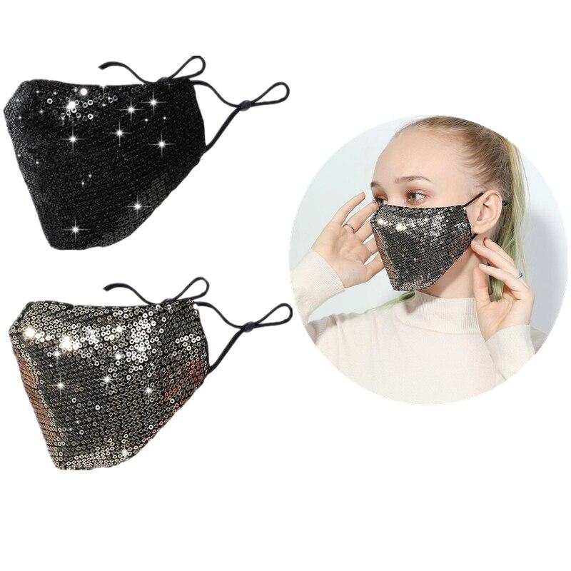 Women Fashion Mask Sequin Ice Silk Face Masks Washable Mask Dustproof Shining Party Cosplay