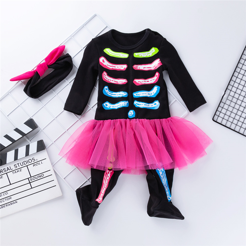 2019 Funny Toddler Baby Girl Kids Halloween Costume Baby Girl Festival clothes Jumpsuit   Romper   Headband Clothing Set