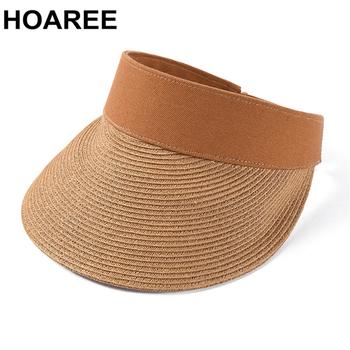 HOAREE kapelusze słomkowe damskie osłony przeciwsłoneczne kapelusze przeciwsłoneczne damskie damskie rafia słomkowy kapelusz kobiece stałe ochrona Uv damskie kapelusze letnie tanie i dobre opinie Dla dorosłych Słomy WOMEN Sun HAT HZ20060613 Na co dzień womens sun hat sun hats for women