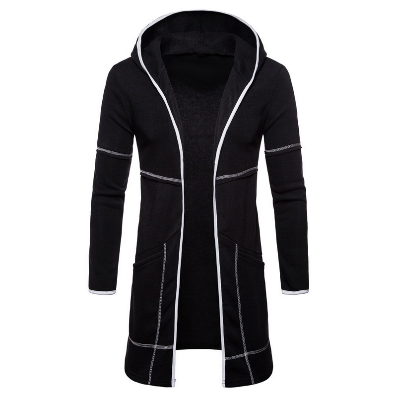 MJARTORIA Coat Hoodies Cardigan Solid-Jacket Male Autumn Long Casual Clothings Outwear