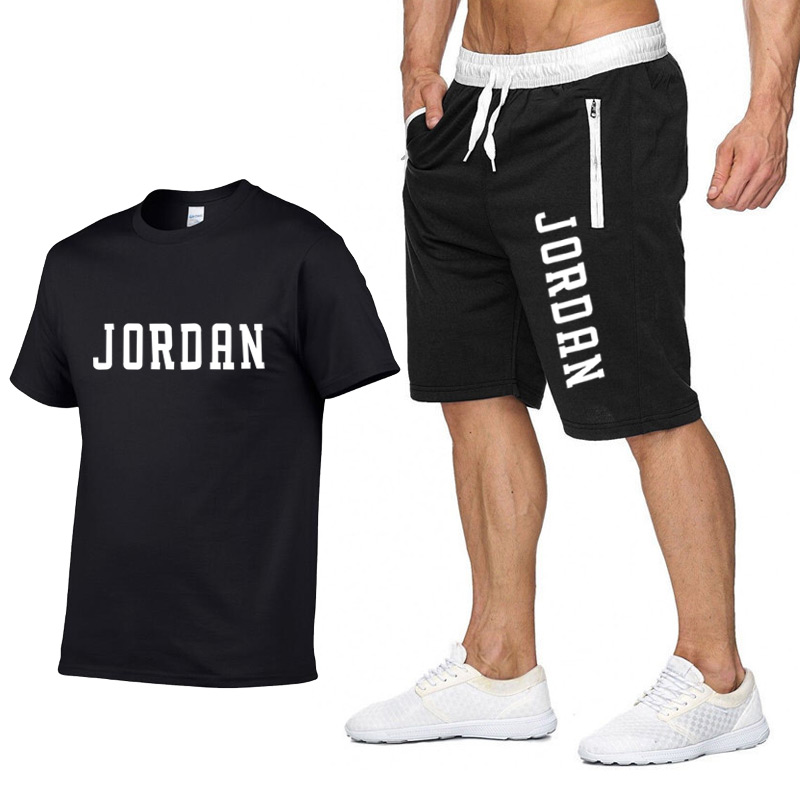 New Fashion Shorts Set Men 2020 Summer 2pc Tracksuit Short Sweat Shirt + Shorts Sets Mens Casual Tee Shirts Set Sportswears