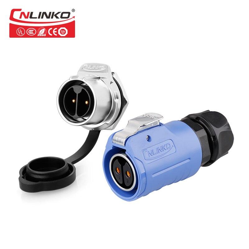 Cnlinko LP20 2-контактный безопасный авиационный круговой пластиковый разъем IP67, гнездовой штекер, водонепроницаемая розетка переменного тока 20A...