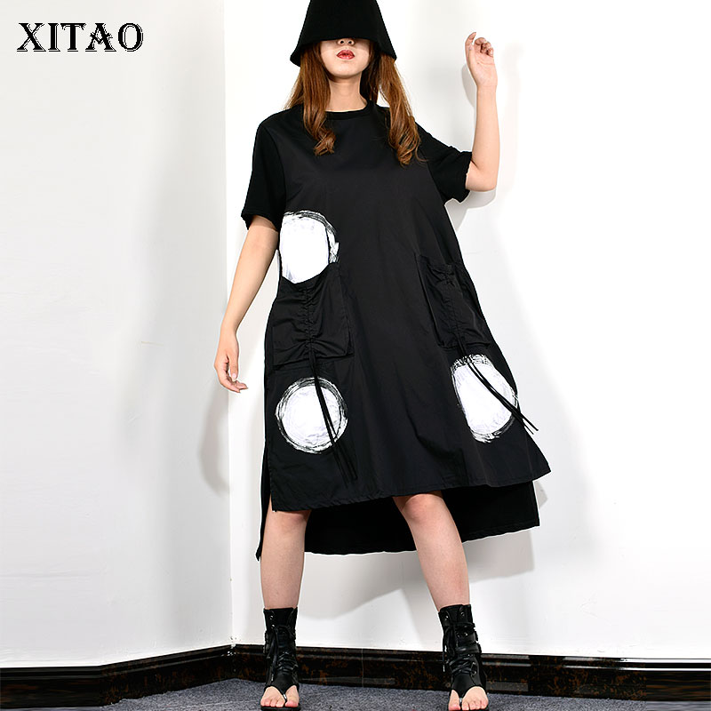 XITAO Wave Point Splice Plus Size Dress Summer Clothes for Women Midi Dress 2019 New Casual Loose Fashion Pullover WBB3418(China)