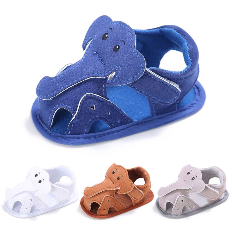Baby Boy Sandals Girl Canvas Elephant Animal Cotton Soft Anti-Slip Sole Toddler Crib Baby Shoes Sandals