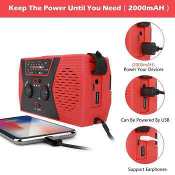 Portable Searchlight Outdoor Household LED Flashlight Emergency Radio Survival Light Solar Hand Crank Self Powered Reading Lamp