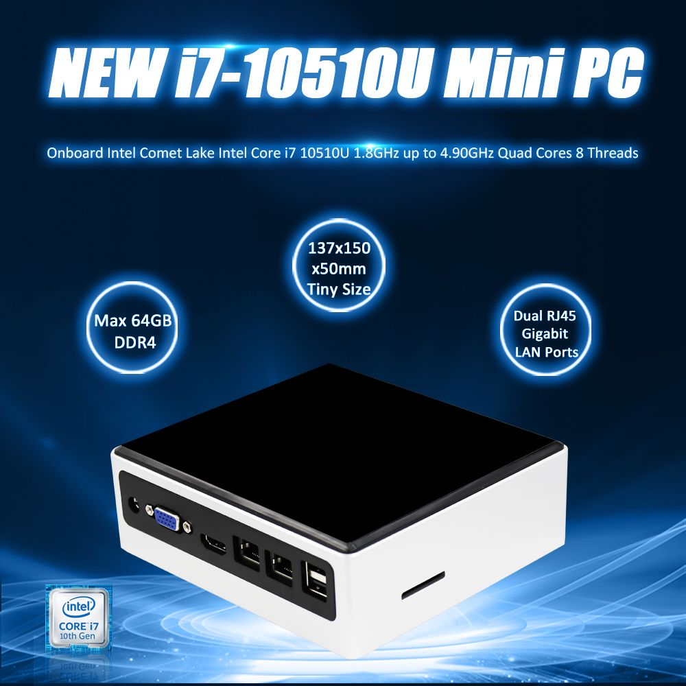 EGLOBAL Latest 10T GEN I7 GAMING PC Core I7 10510U 64GB DDR4 M.2 NVME SSD AC WIFI Win10pro Mini Desktop Computer