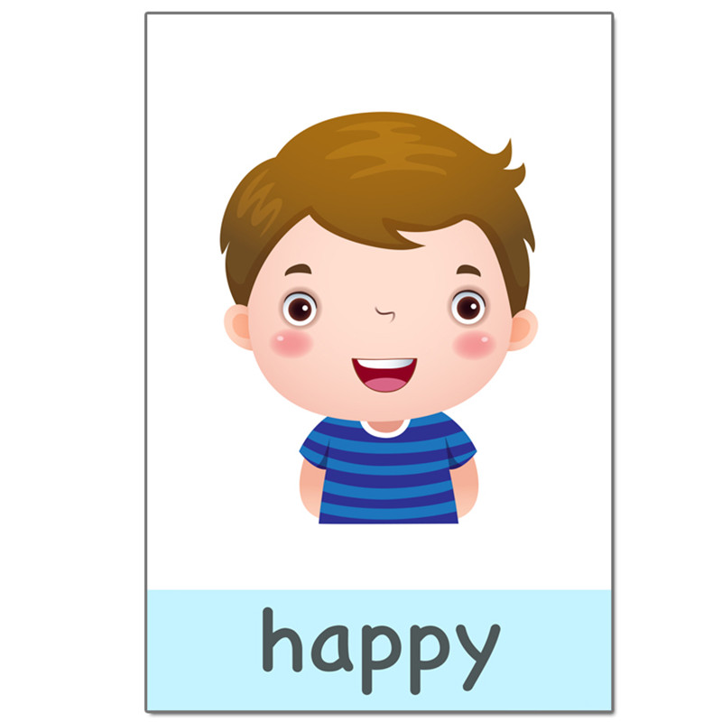 New 14pcs/set Baby English Learning Cards Cartoon Emotion Flash Cards For Children Early Educational Toy Memory Game For Kids 2
