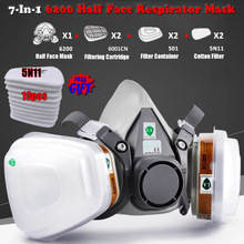 New 7 In 1 6200 Dust Gas Respirator Half Face Dust Mask For Painting Spraying Organic Vapor Chemical Gas Filter Work Safety