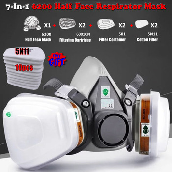 New 7-In-1 6200 Dust Gas Respirator Half Face Mask For Painting Spraying Organic Vapor Chemical Filter Work Safety - discount item  19% OFF Workplace Safety Supplies