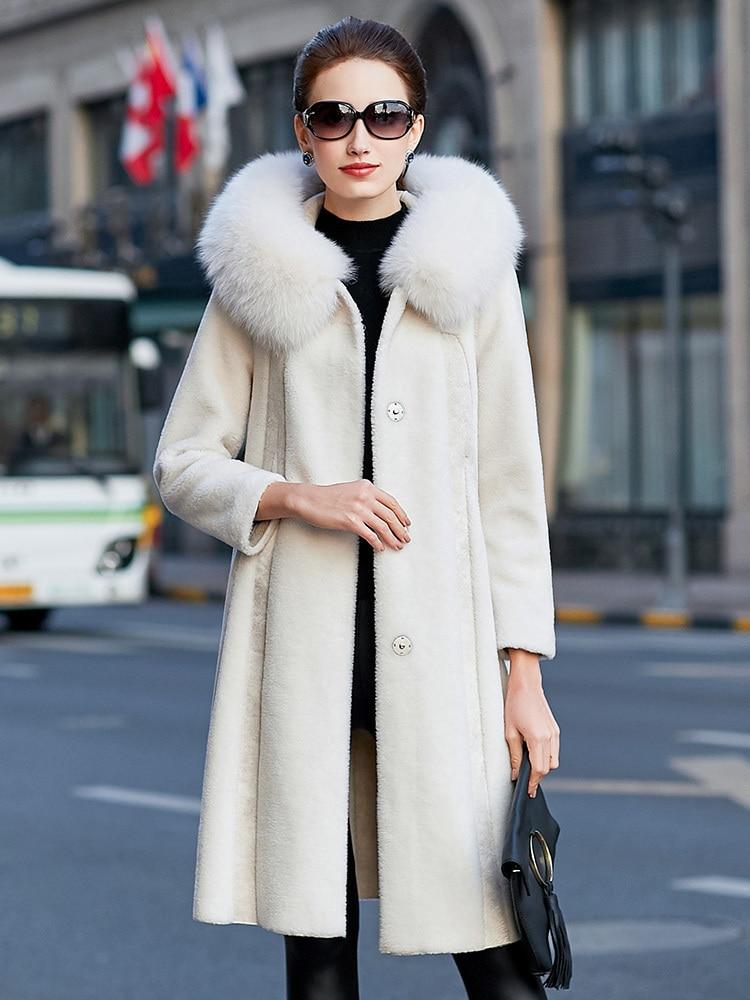 Sheep Real Shearling Fur Coat Female Jacket Winter Jacket Women Fox Fur Collar Wool Coats Korean Long Jackets MY4078 S S