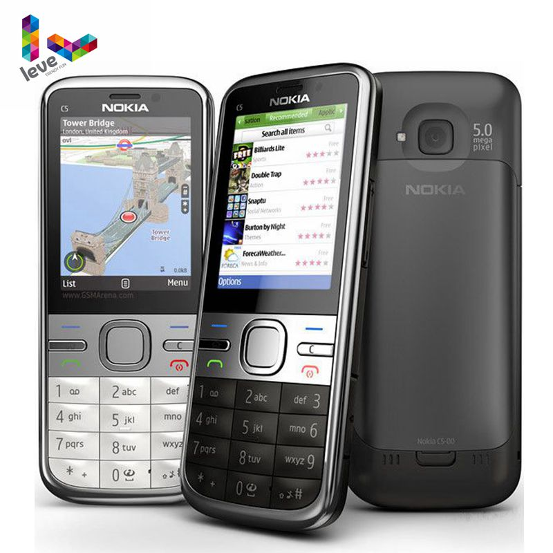 Original Nokia C5 Unlocked Nokia C5-00 C5-00i 3.15&5MP Bluetooth Support Russian&Hebrew&Arabic Keyboard Refurbished Mobile Phone