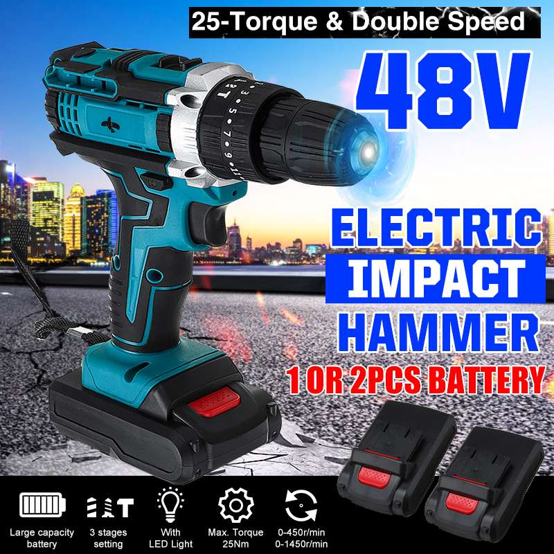 3 In 1 25 Torque Cordless Electric Impact Drill Screwdriver 48v 3 Speed Driver Rechargeable 13000mah With 2 Li-ion Battery