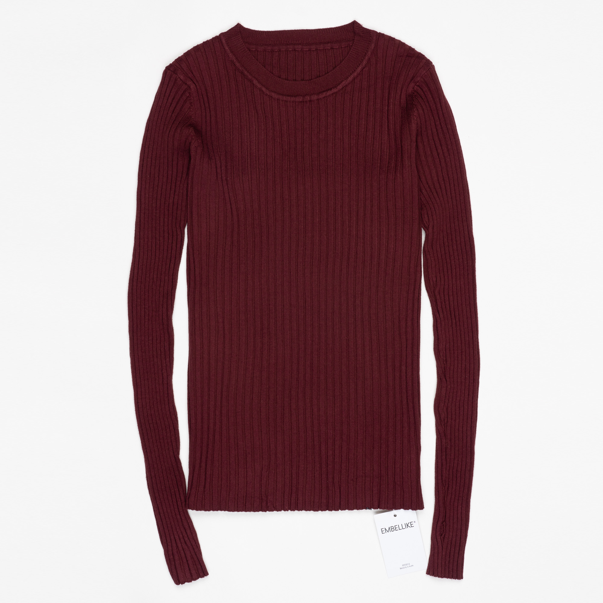 Women Sweater Pullover Basic Ribbed Sweaters Cotton Tops Knitted Solid Crew Neck With Thumb Hole 13