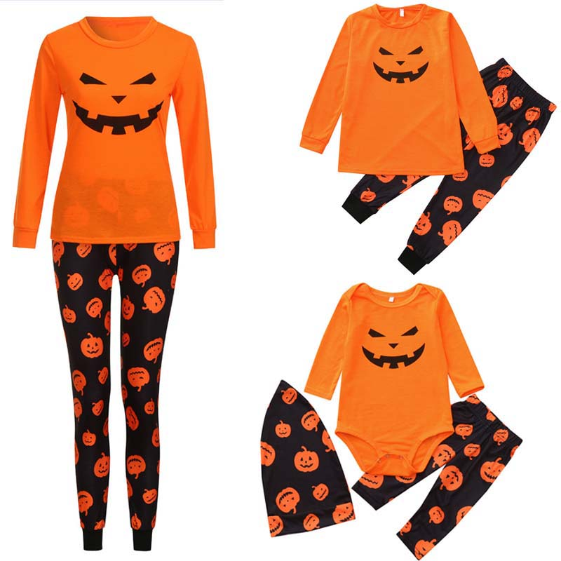 New Halloween Pumpkin Clothing Set Family Fitting Men Women Kid Orange Pajamas Set Children Adult Cats Night Clothing Nightwear