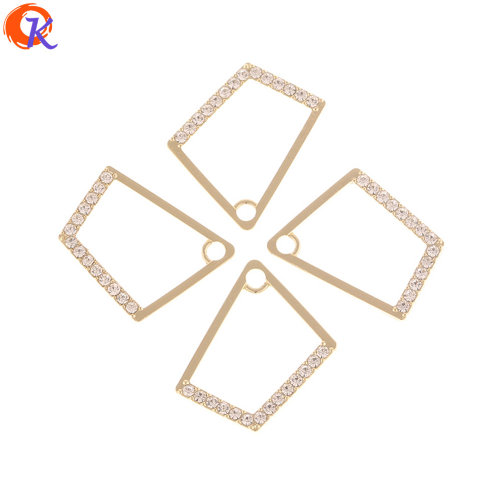 Cordial Design 50Pcs 17*22MM Jewelry Accessories/Earrings Making/Rhinestone Charms/Geometry Shape/DIY/Hand Made/Earring Findings