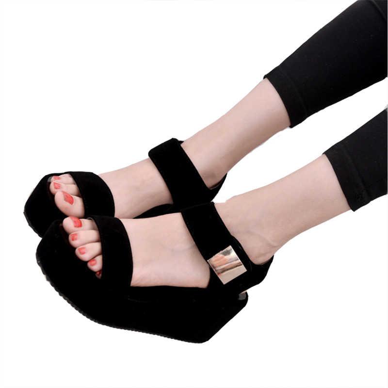 QSR buty kobieta 2019 letnie klapki damskie buty sajdals platforma z wysokim obcasem i klinem z parą sandałów