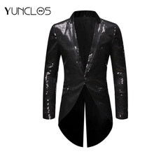 Hot Shiny Sequin Men Swallowtail Coat Men Tuxedo Nightclub Blazer Wedding Party Suit Stage Singers Clothes(China)
