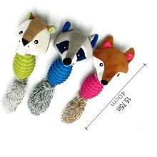 Pet Toy Plush Plastic Fox Seal Raccoon Shaped Biting Toy Cleaning Teeth Molar Toy Pet Decompression Toy(China)