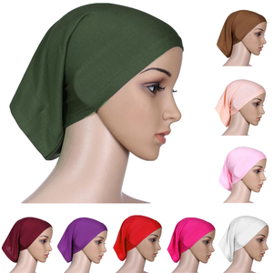 Image 1 - Muslimische Frauen Baumwolle Weiche Unter Schal Innere Kappe Knochen Bonnet Hals Abdeckung Caps Wrap Headwear Islamischen Arabischen Nahen Osten Mode