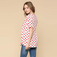 Maternity Tops Summer Short Sleeve V-Neck Pregant Blouse Polka Dot Maternity Clothes Pregancy Short Sleeve Red Pregant Blouse