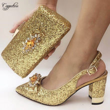 High Class Wedding/Party Gold Pointed Toe Sandal Shoes And Bag Set Nice Party Pumps With Handbag 073-6 Heel Height 8CM(China)