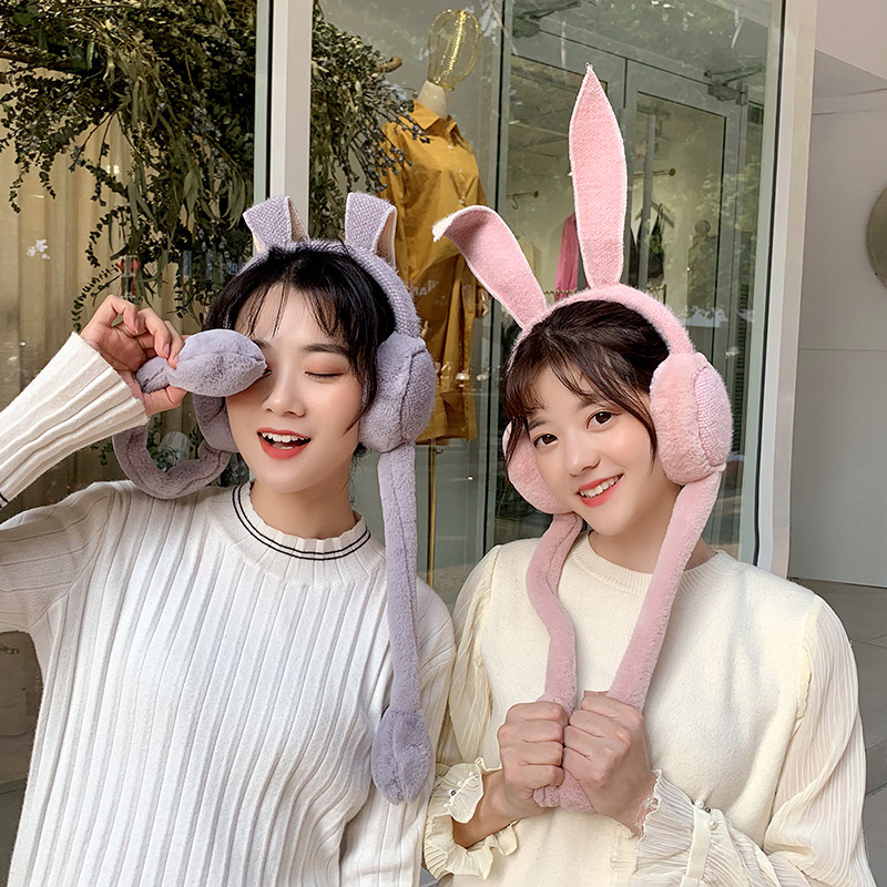 South Korea Winter New Warm Earmuffs Children's Cartoon Ear Muffs Cute Rabbit Ears Plush Ears Warm Girl