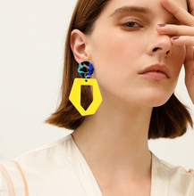 Irregular Geometric Acrylic Long Drop Earring Resin Acetic Acid Dangle Earrings Yellow White 2 color Fashion Female Jewelry 2019