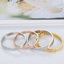 Популярный из нержавеющей стали серебряный розовое золото цвет простой пара браслет юбилей ювелирные браслеты подарок для женщин мужчин