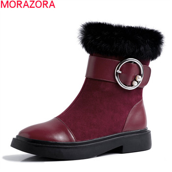 MORAZORA 2020 New arrive genuine leather ankle boots fashion buckle solid shoes woman winter keep warm black gray women boots фото