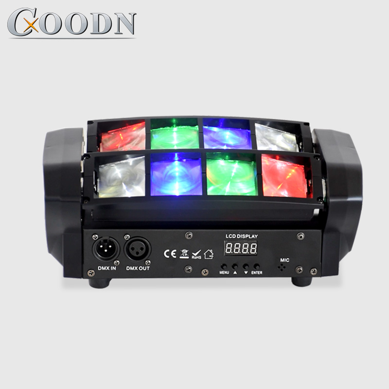 Stade 8X10W Mini LED lumière araignée DMX512 LED lumière principale mobile RGBW LED faisceau lumineux Club Dj Disco projecteur