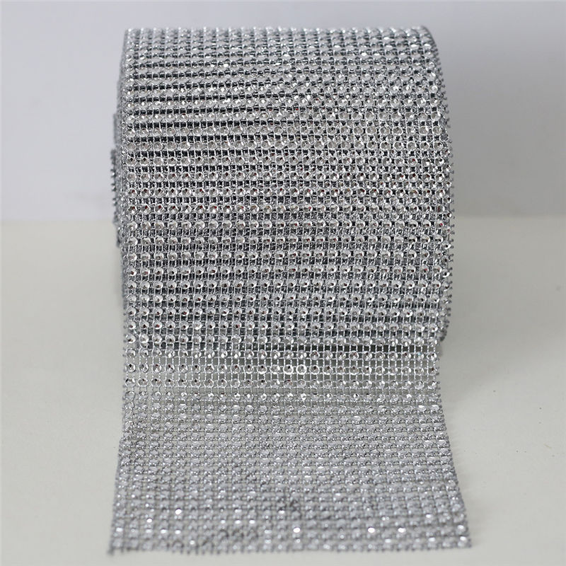 [Closeout DealsChain for Wedding-Decoration CL01 Trimming Ribbon-Cup Mesh Silver-Base Rhinestones Crystal