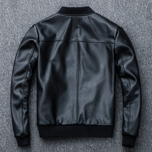 Spring Autumn Genuine Men Real Cow Leather Jackets Vintage Cowhide Coa