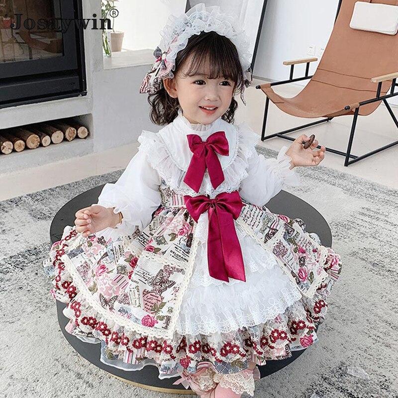 Robe d'automne et d'hiver pour filles, imprimé Lolita, robe de mariée kawaii pour enfants, robe de bal d'anniversaire, tenue de fête princesse