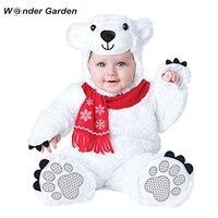 Wonder Garten Infant Kleinkind Baby Jungen Mädchen olar Bär Tier Halloween Cosplay Kostüm Purim Urlaub Kostüm-in Strampelanzüge aus Mutter und Kind bei