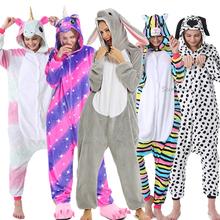Dorosłych zwierząt jednorożec piżamy zimowe piżamy Kigurumi Stitch Panda Pikachu piżamy kobiety Onesie Anime kostiumy kombinezon tanie tanio YSOYOK Poliester S M L XL Unisex Cartoon Pasuje prawda na wymiar weź swój normalny rozmiar Flanelowe licorne