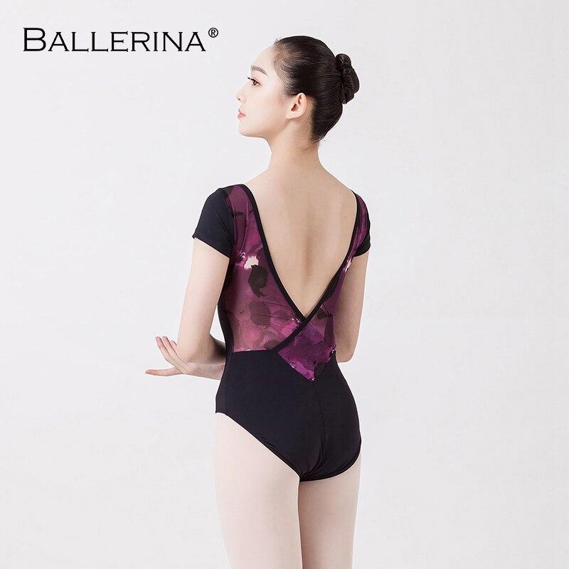 Ballet Leotards For Women Yoga Sexy Short Sleeve Gymnastics Mesh Printing Leotards  Adulto Ballerina 3520